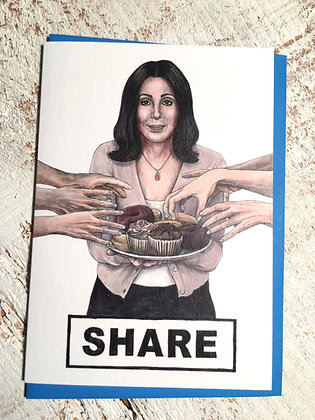 Sharing Cher greeting card