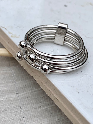 STERLING Four Band Ring