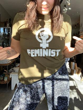 'Feminist' T-shirt - Olive TS01