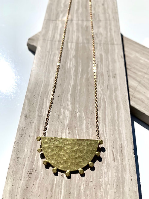 Hammered Brass Crescent Necklace FN16