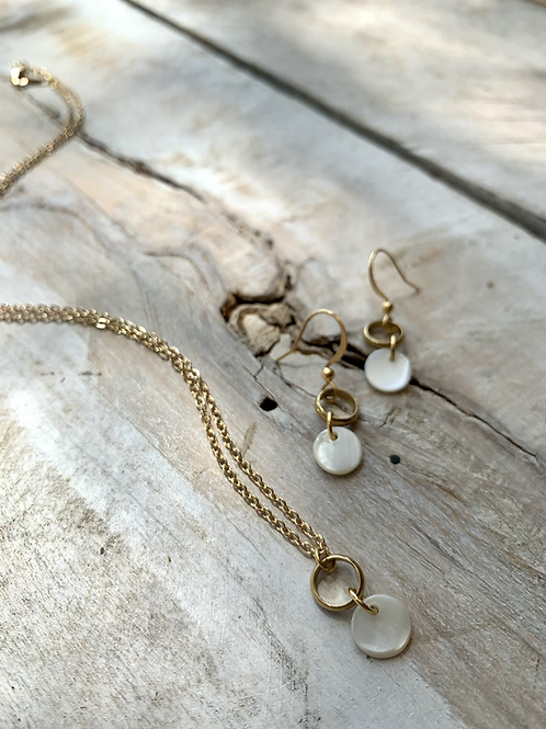 Shell and Brass Loop Necklace  or Earrings FNA21SET