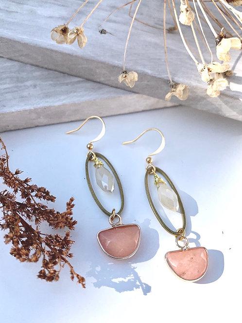 'Karleen' Rhodonite  & Vintage Glass Earrings