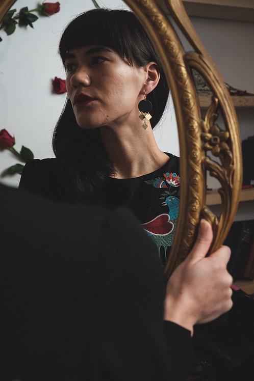 >>>Yolande -  Black and Brass Earrings<<<