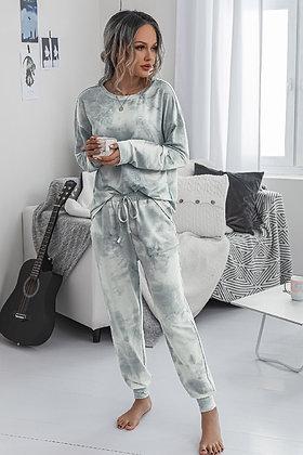 Loose Fit Tie Dye Print Drawstring Loungewear Set - Grey SW16