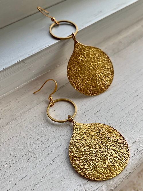 Brass Hoop with Brass Teardrop Shape Earrings FEA65