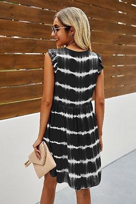 Casual Striped Ruffled Sleeve Dress - Black DR06