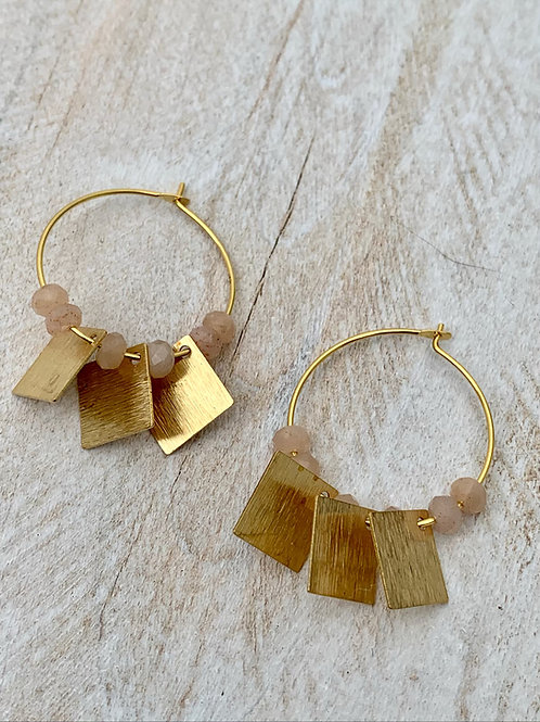 >>> BOON - Brass and Moonstone Earrings <<<