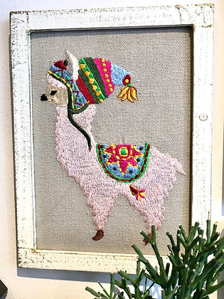 HAND EMBROIDERED Wall Critters -Llama