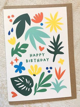 Happy Birthday 🥳 Colourful Plants Card CR59