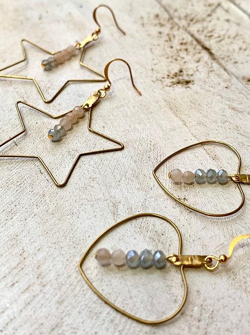 Wire Star and Heart Earrings FEA03