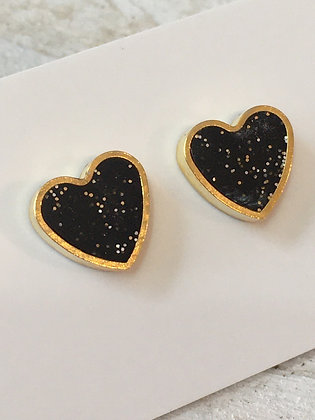 MOONLIGHT FOR VIOLET black hearts w/ sparkle earrings
