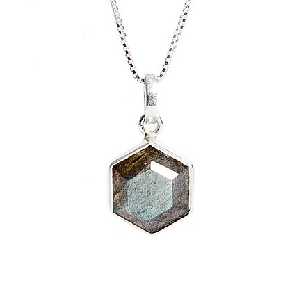 SARASWATI 'Honeybee Necklace' Sterling + Labradorite SWN04