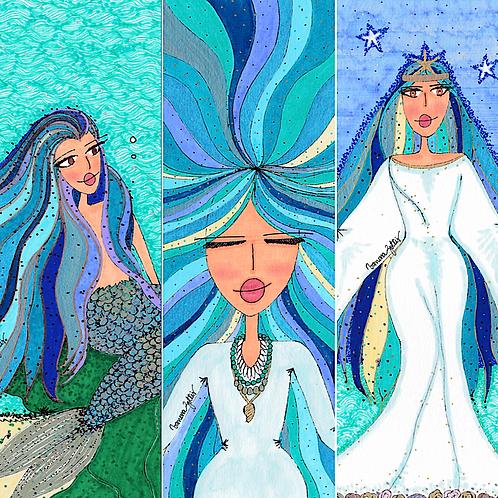 Trio de Ilustrações Rainhas do Mar