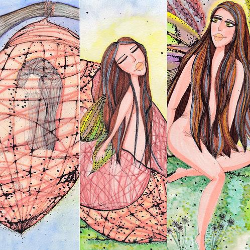 Trio de Ilustrações Metamorfose