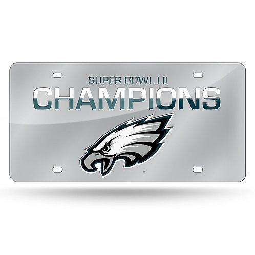 Super Bowl LII Eagles License Plate Silver