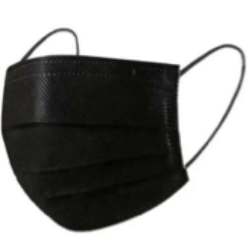 Masque de procédure 3 plis NOIR (NON MÉDICAL) -  Boîte de 50