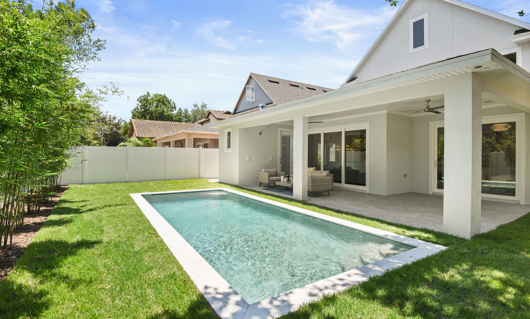 Rear elevation w/ pool