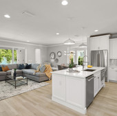 Kitchen and Living Room w/ dining nook