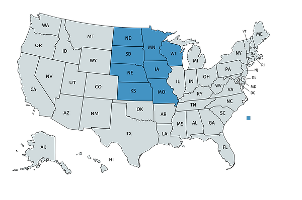 Map of the US with midwest states highlighted: North and South Dakota, Kansas, Nebraska, Iowa, Minnesota, Wisconsin, Missouri
