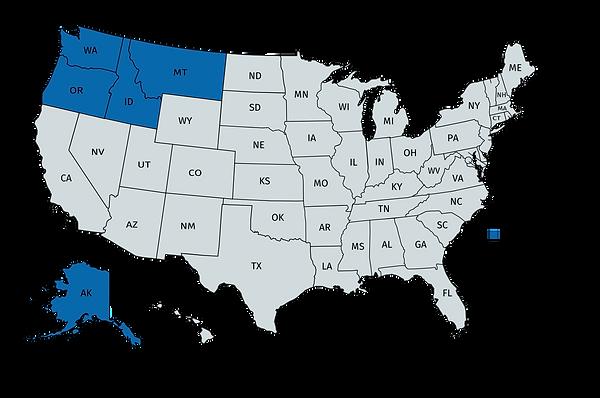 Image of the US with NW states highlighted: Washington, Oregon, Idaho, Montana, Alaska