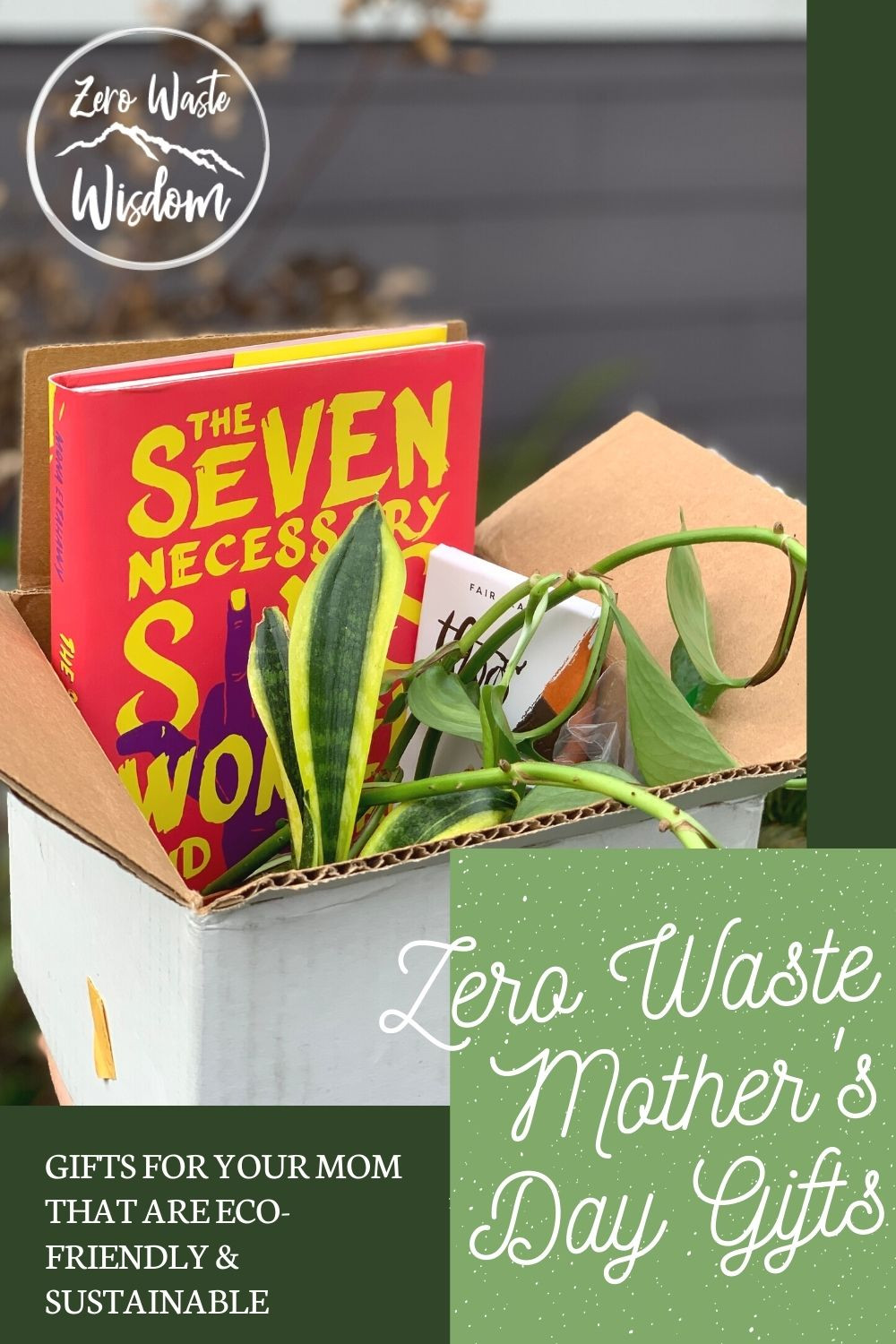 Zero Waste Mother's Day Gifts Pinterest Graphic with book, plant, and chocolate