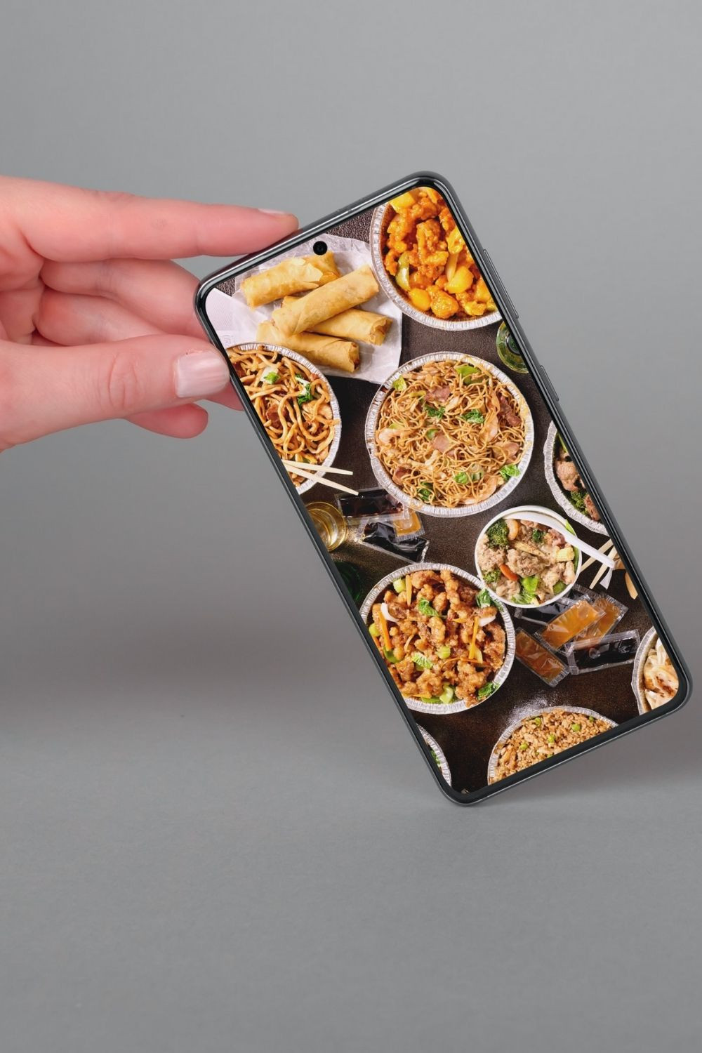iPhone with takeout food waste apps