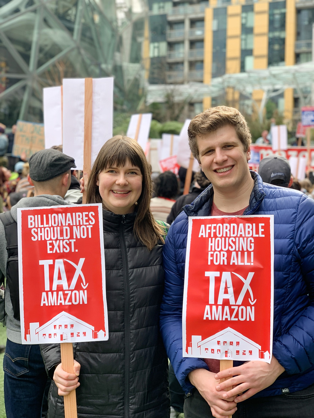 Protesters at a Tax Amazon march in Seattle