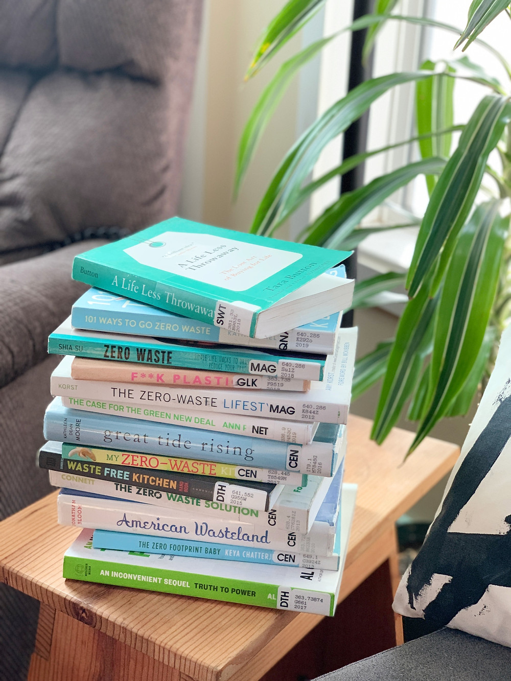 stack of zero waste books