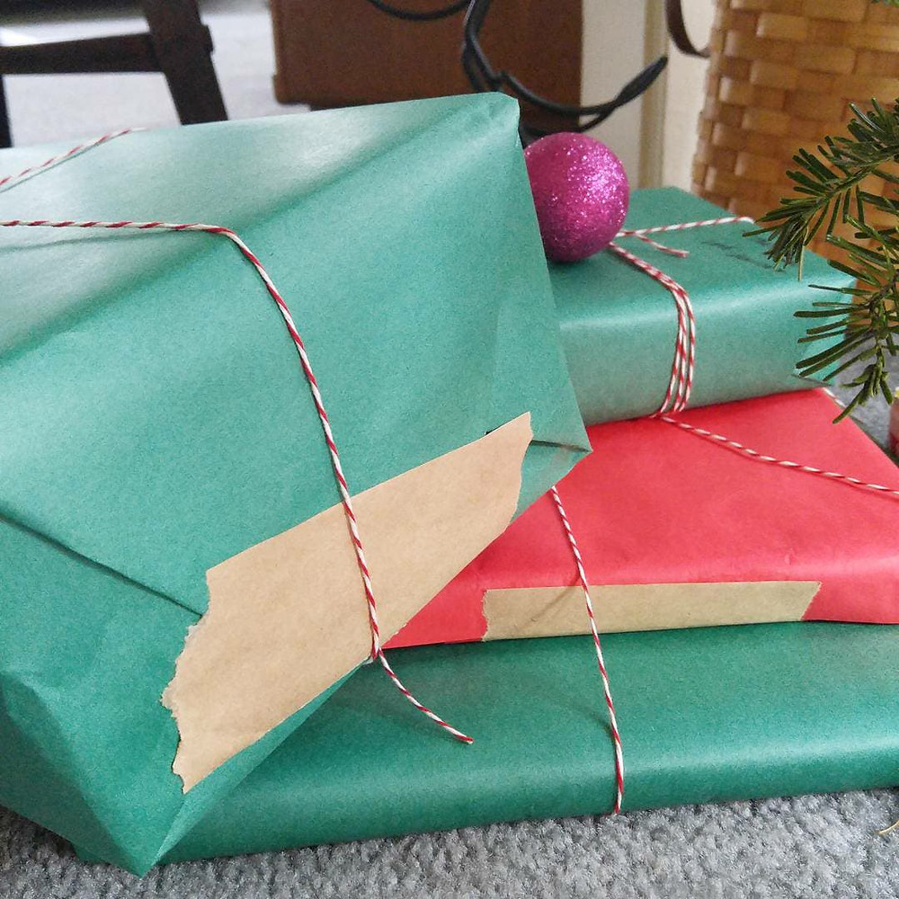 Presents wrapped with paper tape