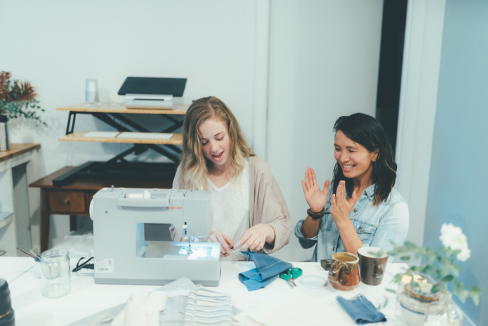 Vanina teaching a sewing class