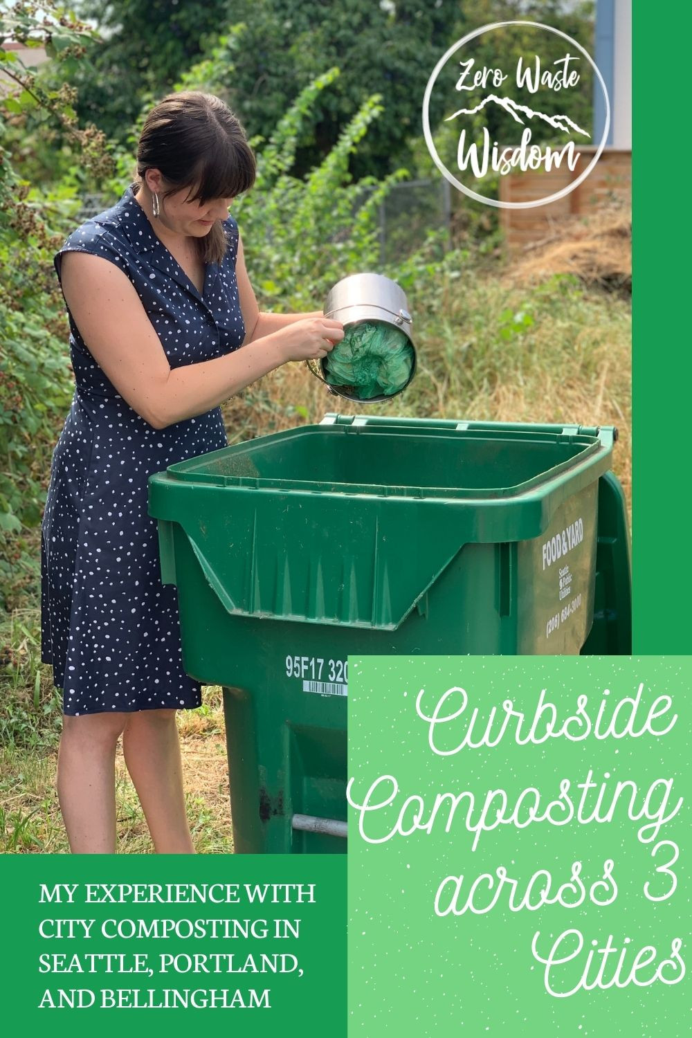 Jenica dumping compost into a curbside compost bin Pinterest Pin