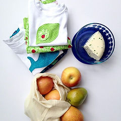 plastic free cheese, apples, baby clothes
