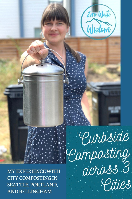 Jenica holding a compost bucket Pinterest Pin