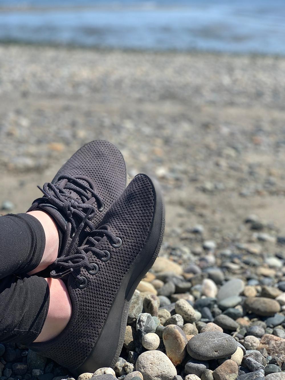 Allbirds zero waste shoes on the beach
