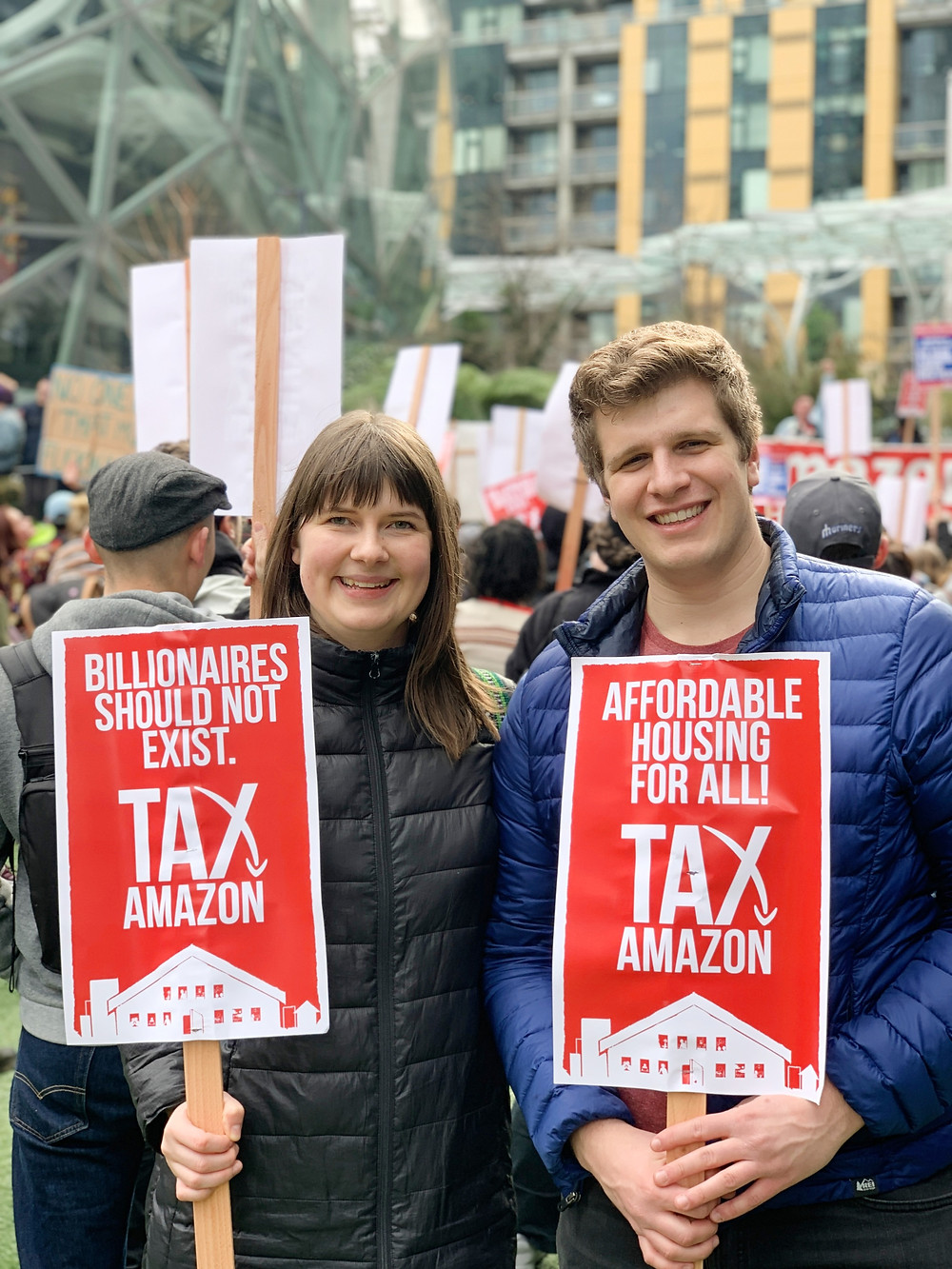 tax amazon protesters