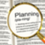 planning-definition-magnifier-showing-or