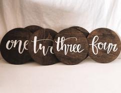 Handwritten Wooden Table Numbers