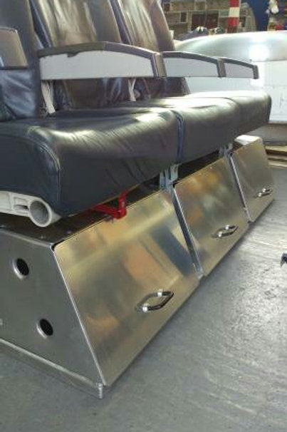Blue leather aircraft seat reception chairs with storage!