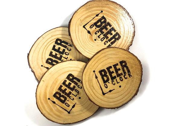 Beer O'Clock Wooden Coasters