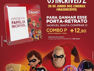 Promoção da Cinesystem tem porta retrato exclusivo de Os Incríveis 2 para levar para casa