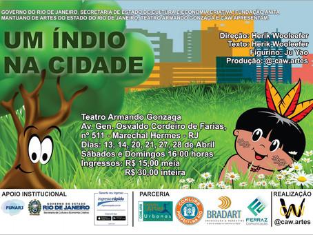 Espetáculo Infantil 'Um Índio na Cidade' estreia no Teatro Armando Gonzaga