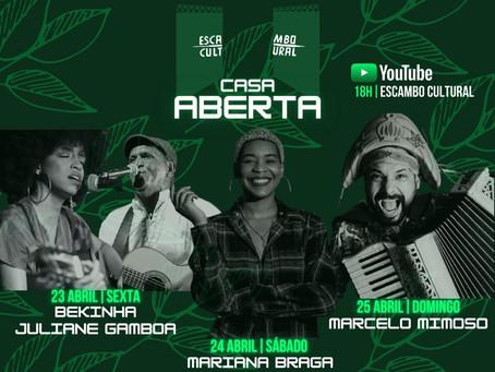 Projeto Casa Aberta, do Escambo Cultural em Sulacap, leva série de lives musicais ao YouTube