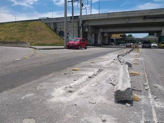 Após ViaRio parar manutenção, Prefeitura promete recolocar blocos de cimento na Fontenelle