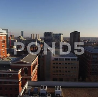 Birmingham City Center Aerial Panning Shoot Of City Scape.