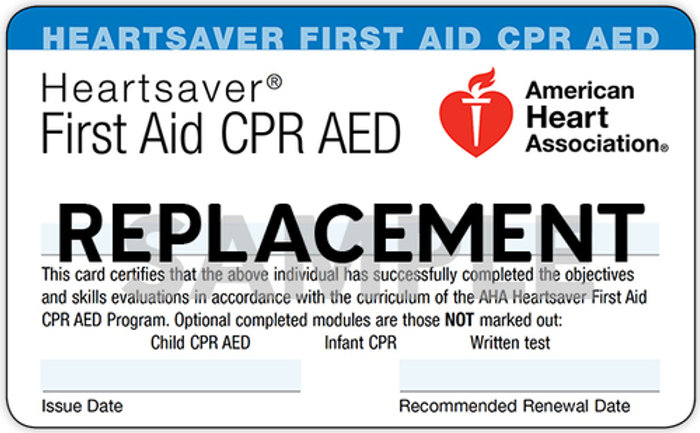Heartsaver First Aid CPR AED Replacement Card