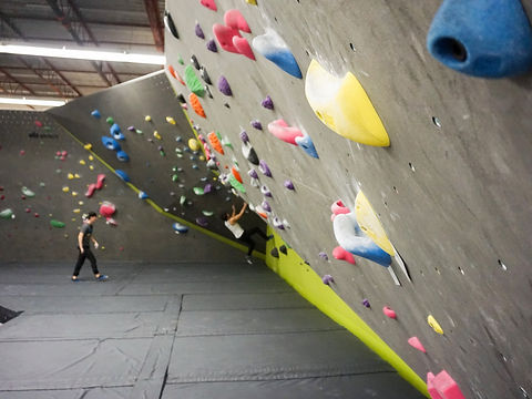 bouldering wall with hold