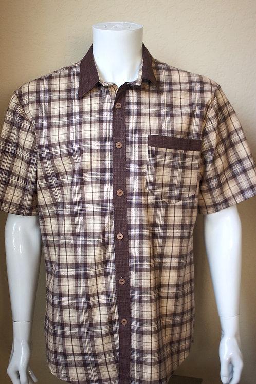 Brown Plaid Short Sleeve