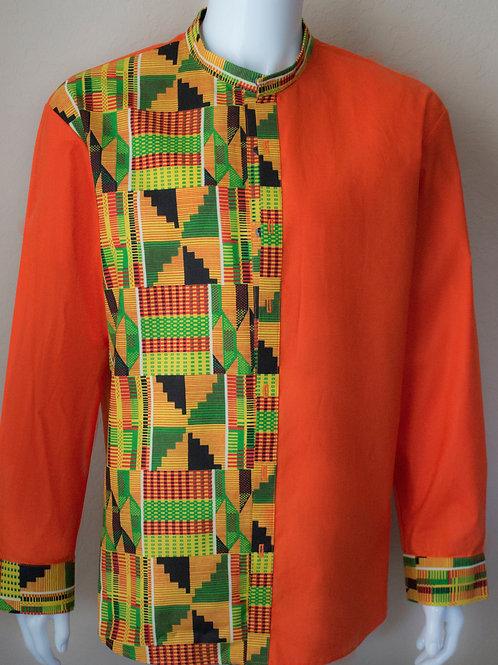 Men's Split Orange Kente Long Sleeve