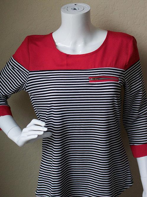 Red w/ Black& White Stripes