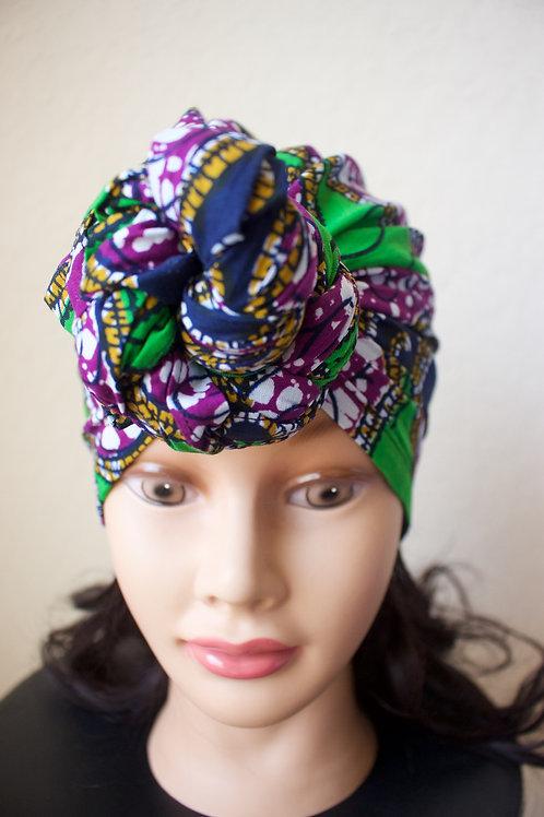 Green/Purple Ankara Headwrap